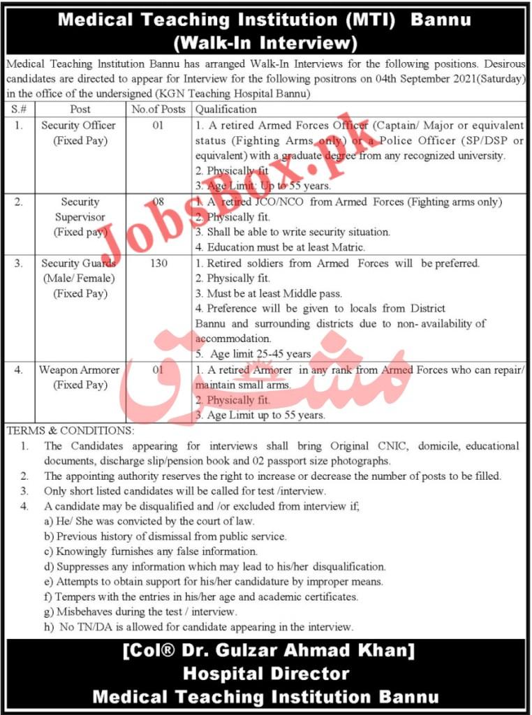 MTI Medical Teaching Institution Lahore Jobs 2021 in Pakistan