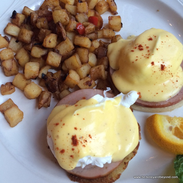 eggs Benedict at Benbow Historic Inn restaurant in Garberville, California