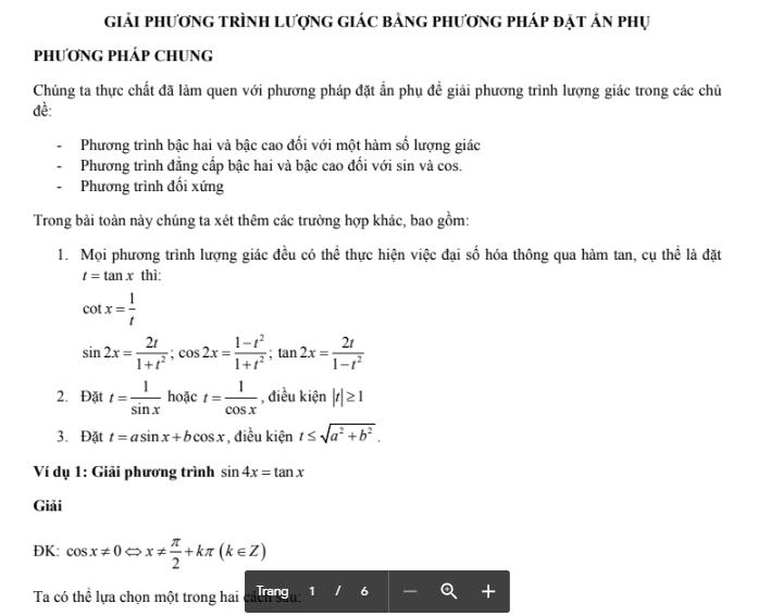 Phương pháp giải phương trình lượng giác bằng cách đặt ẩn phụ