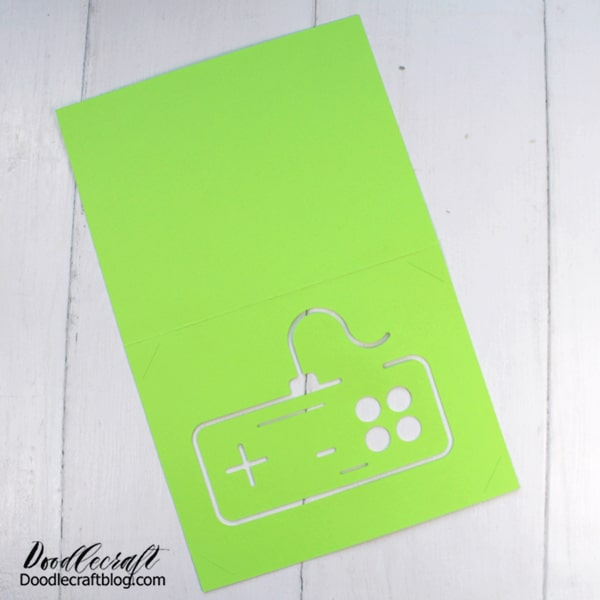 Supplies Needed for Video Gamer Card: Cardstock Insert Paper (metallic poster board from Dollar Tree) Cricut Machine