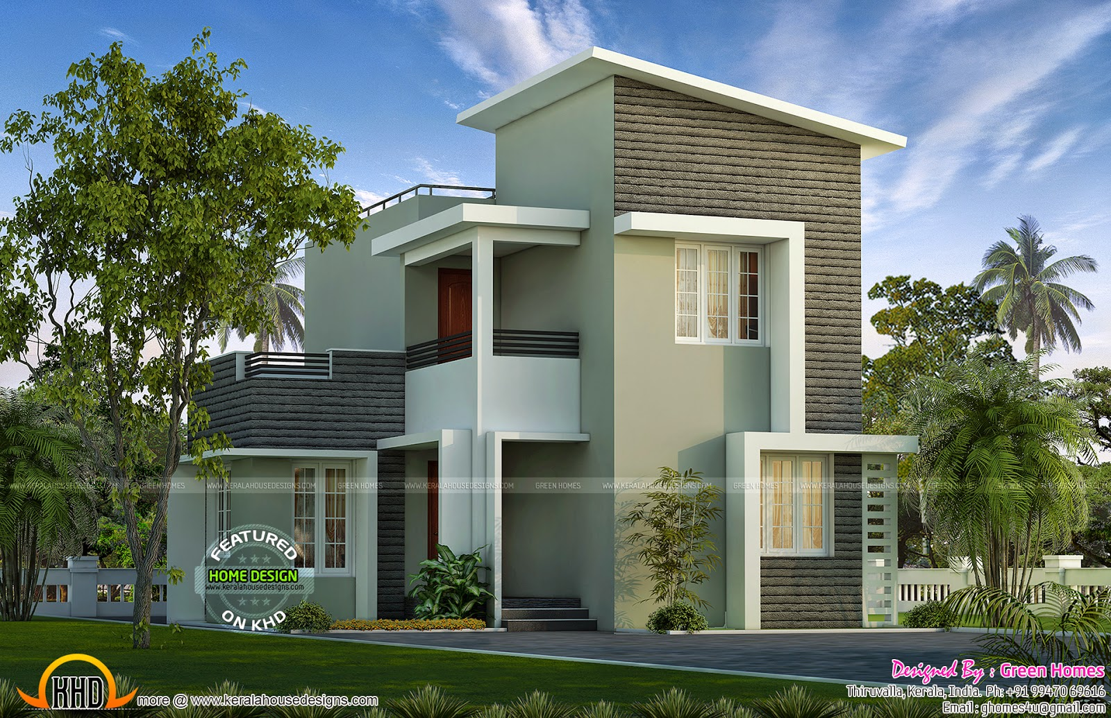 Small plot double storied house kerala home design and for Modern long house plans