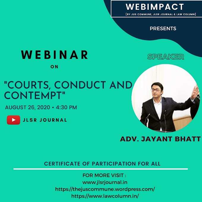 """WEBIMPACT'S WEBINAR ON """"COURT, CONDUCT AND CONTEMPT"""""""