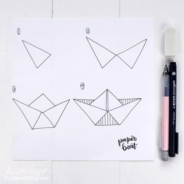 How to Draw a Paper Boat in 4 easy steps:
