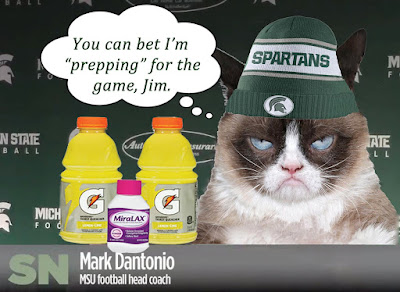 Mark Dantonio, as grumpy cat, prepares to have a colonoscopy at the hands of the Wolverines