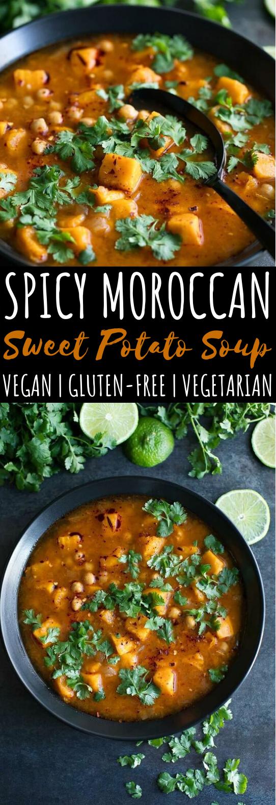 Spicy Moroccan Sweet Potato Soup #vegan #dinner #soup #stew #meatless