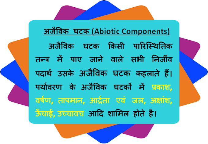अजैविक घटक (Abiotic Components), Ajaivik Ghatak - पर्यावरण
