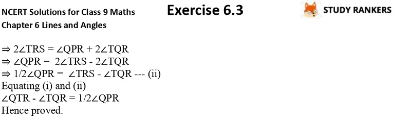 NCERT Solutions for Class 9 Maths Chapter 6 Lines and Angles Exercise 6.3 Part 5