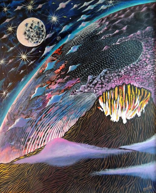 Obra de arte en venta Manuel Carmona: pintura volcán