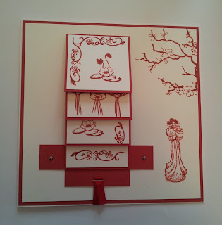 Red and white Japanese style waterfall card