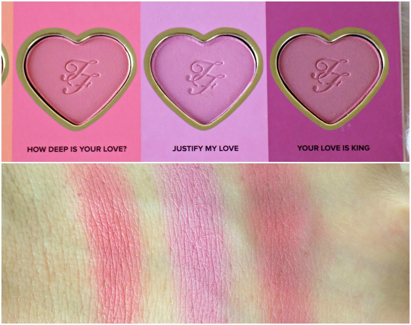 Too Faced Love Flush Long Lasting 16-Hour Blush Wardrobe swatches