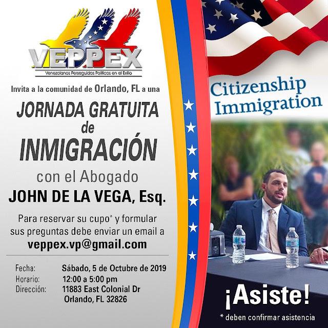 VEPPEX-JORNADA GRATUITA DE INMIGRACION 5 DE OCTUBRE EN ORLANDO-