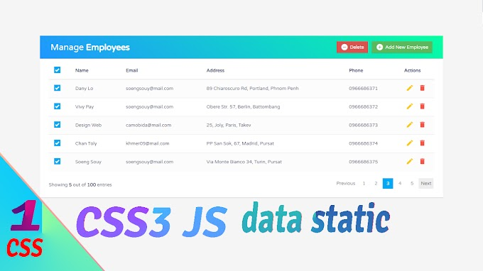 Bootstrap CRUD Data Table for Database with Modal Form | Static Design css
