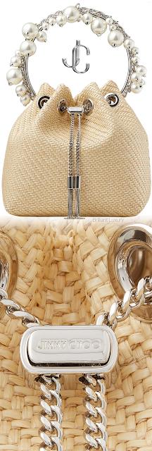 Jimmy Choo Bon Bon natural raffia bag with pearl handle #brilliantluxury