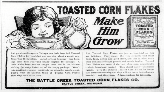 Sanitas Toasted Corn Flakes, advertising Oct. 6, 1906