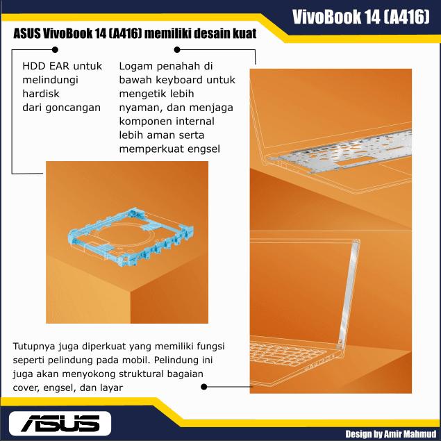 Perlindungan logam kuat pada VivoBook 14 A416