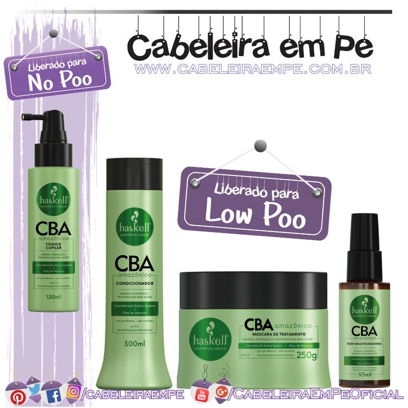 Condicionador, Máscara, Óleo (Liberados para Low Poo) e Tônico (No Poo) CBA Amazônico - Haskell