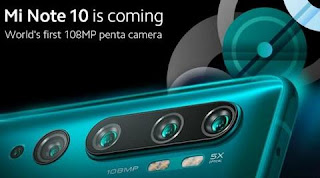 Xiaomi upcoming Mi Note 10 Smartphone will be World's first 108 MP Penta Lens camera
