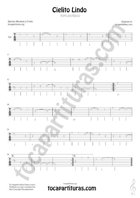 Tablatura sin Pentagramas con la Melodía de Cielito Lindo para Guitarra con 6 líneas y números para los dedos (Fingering)