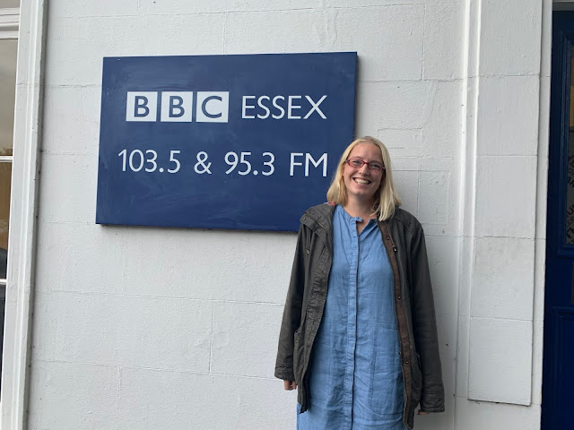 Me standing awkwardly next to the BBC Essex sign outside the Chelmsford based radio studio