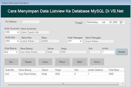 Cara Menyimpan Data Listview Ke Database MySQL Di VB.Net