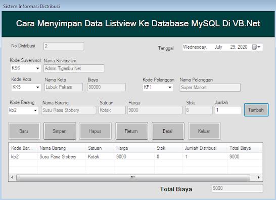 Menyimpan Data Listview Ke Database MySQL Di VB.Net - Pada artikel kali ini saya berbagi informasi bagaimana cara menyimpan data listview ke database MySQL di VB.Net untuk anda yang sedang belajar bahasa pemrograman VB.Net atau sedang membuat program sistem informasi untuk persyaratan Tugas Akhir.   Untuk tahap pertama yang harus anda lakukan sebelum menuju ke topik inti (menyimpan data listview ke database MySQL) tentunya anda desain terlebih dahulu program anda di VB.Net.  Selanjutnya menambahkan koding simpan agar program yang anda buat nantinya dapat dapat melakukan proses menyimpan data listview ke database MySQL. Untuk artikel ini saya menggunakan desain program seperti gambar di bawah ini.