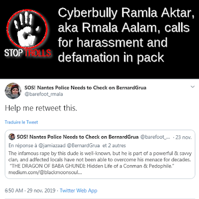 Ramla Akhtar, aka Rmala Aalam the, bully called for actions in pack without mentionning her target but using a retweet. That's why it could not be immediately identified through the Twitter module for denuncing harassment.