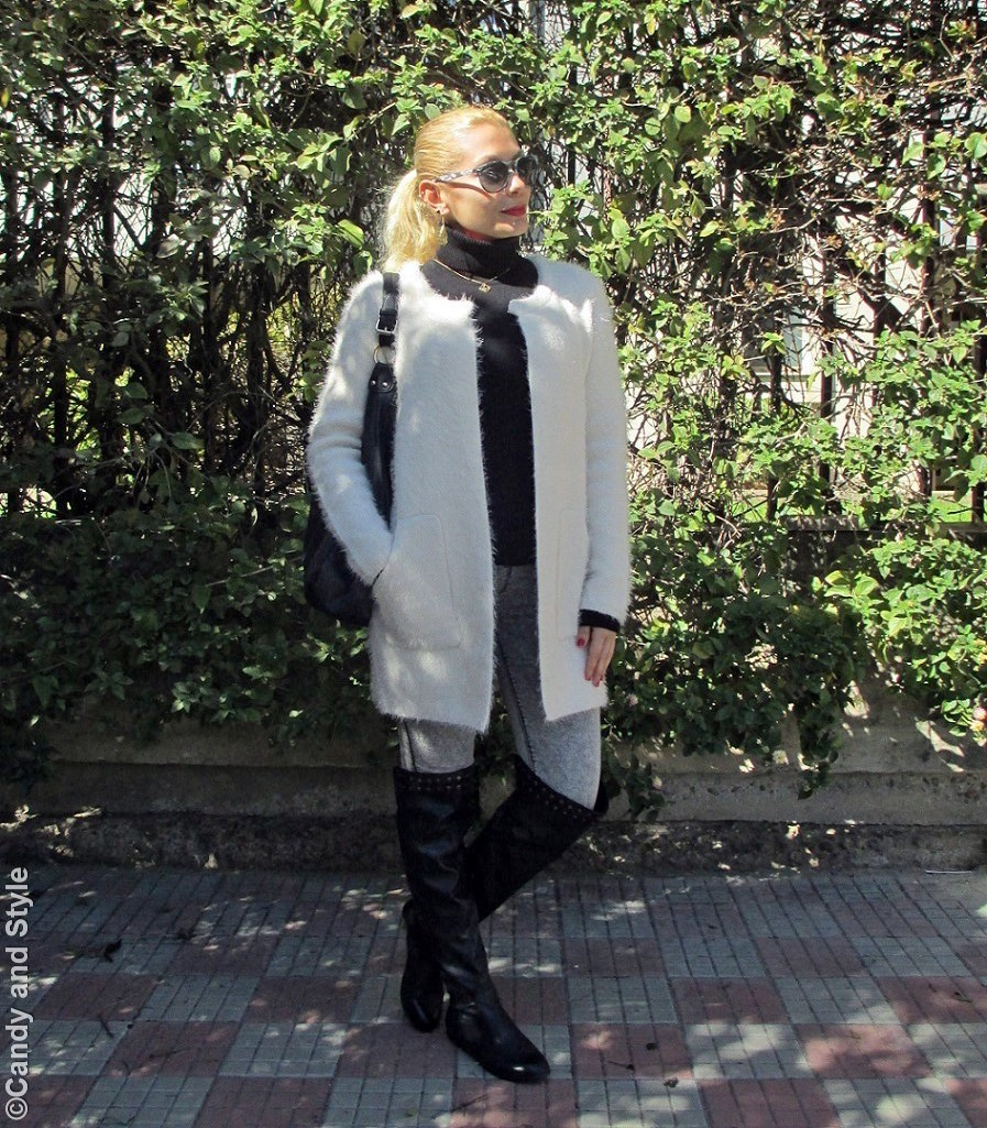 CamoShades+SwetaterJacket+TurtleneckSweater+Jeggings+Overknees+HoboBag+HighPonytail+RedLips - Lilli Candy and Style Fashion Blog