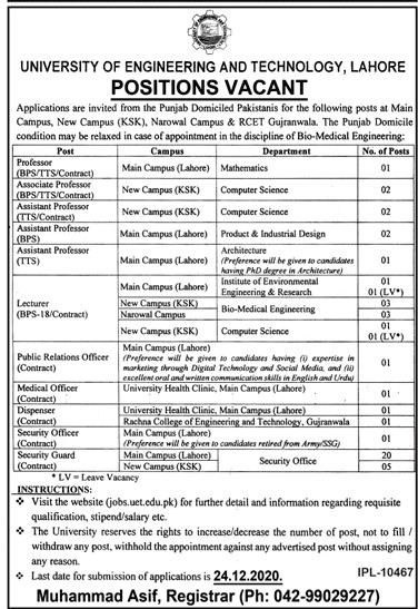 UET Lahore Jobs UET Lhr Latest Vacancies University of Engineering and Technology UET Jobs - Online Apply - jobs.uet.edu.pk New Jobs 2021