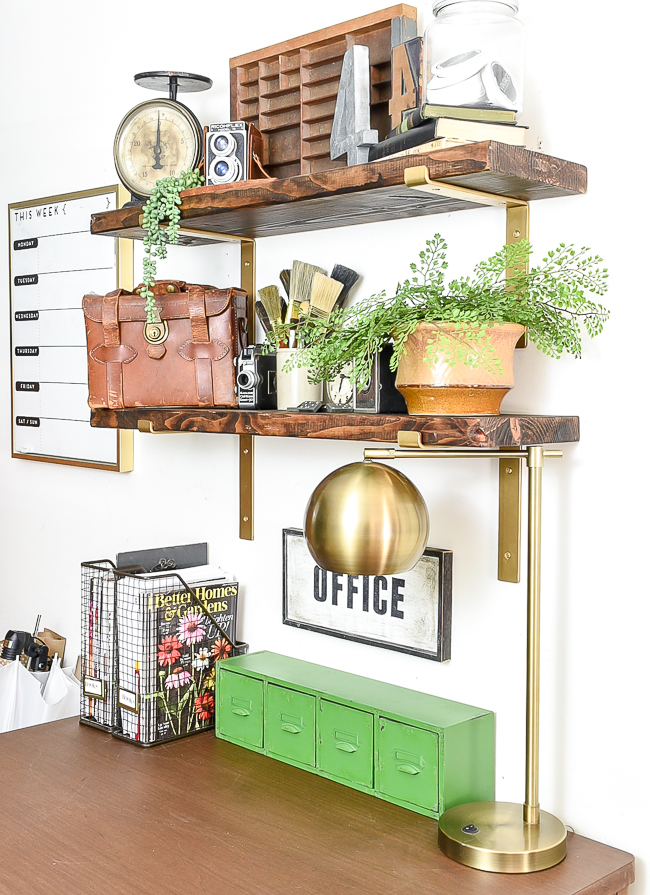 Styled office shelves with vintage decor