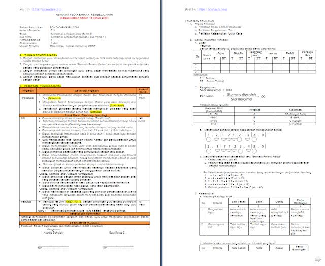 RPP K13 1 Lembar Kelas 2 SD/MI Semester 1