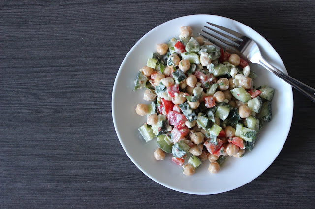 Chickpea, Vegetable, & Feta Salad with Lemon-Tahini Dressing | A Hoppy Medium