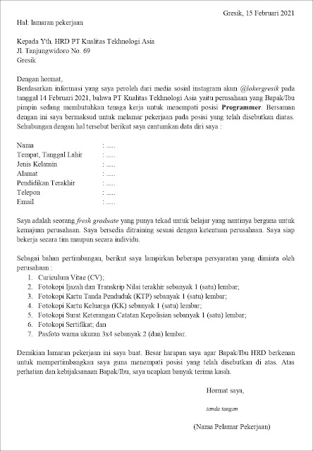 Contoh Application Letter Programmer (Fresh Graduate) Berdasarkan Informasi Dari Media Sosial