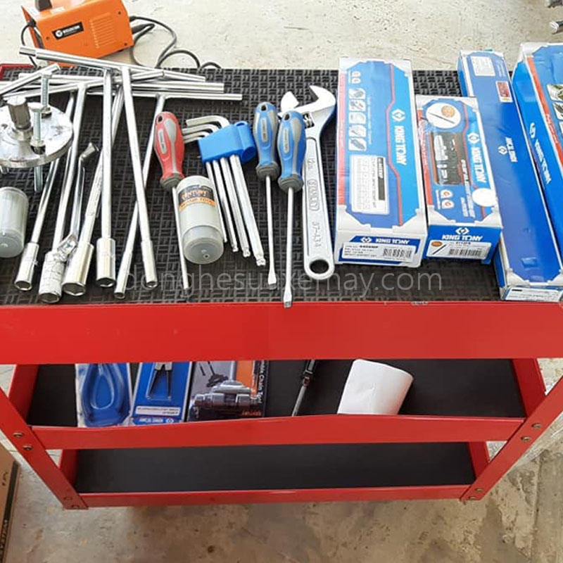 xe đẩy 3 ngăn, tủ đồ nghề 3 ngăn, tủ dụng cụ sửa xe máy