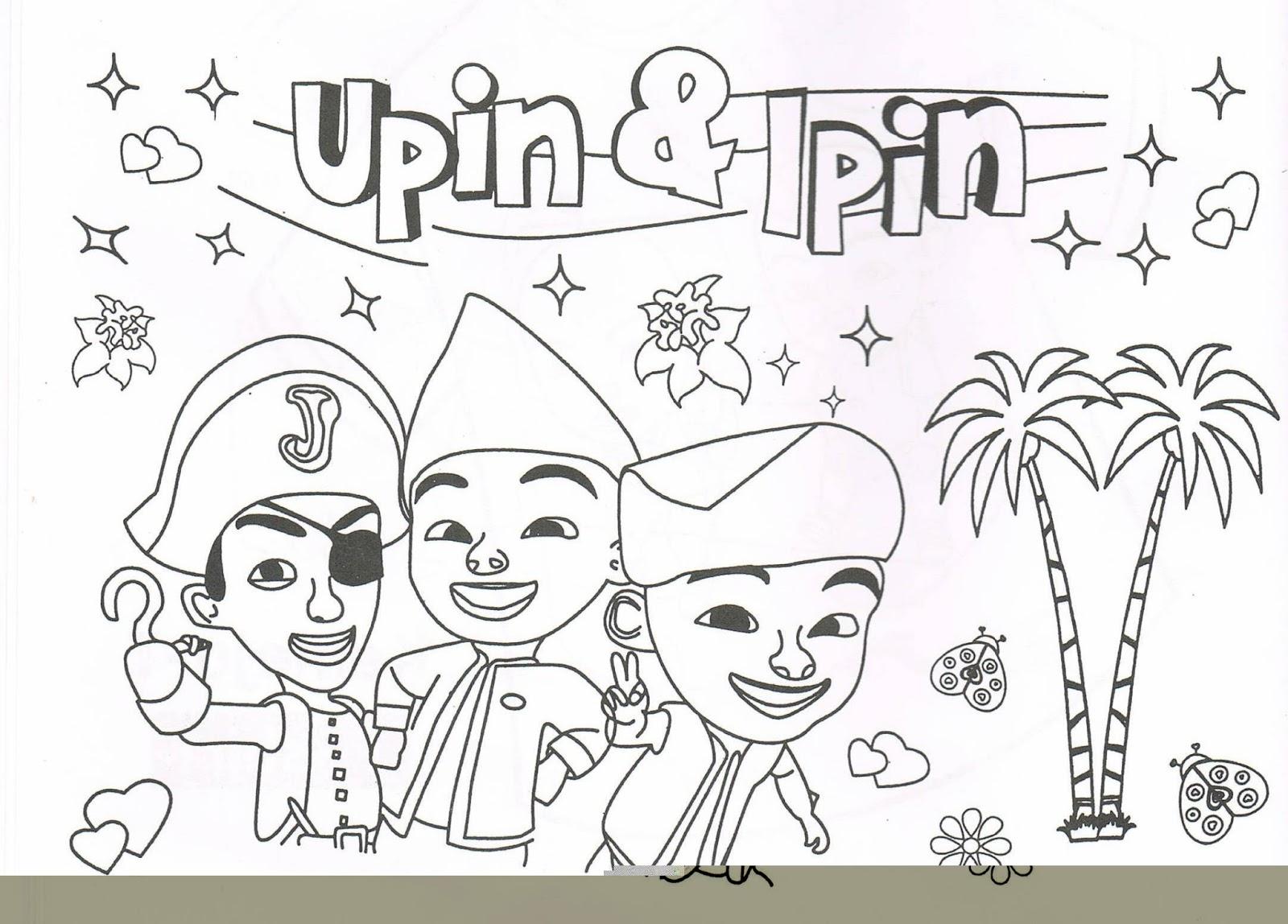 Gambar 10 Mewarnai Gambar Upin Ipin Terbaru Sketsa Kartun