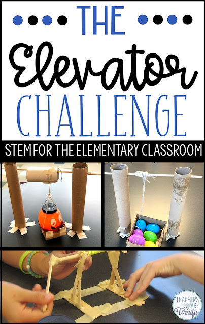 STEM Challenge- build an elevator that will lift an object by using a cranking device. Perfect for upper elementary students. Students must build a platform and a crank that will work to lift a load. #teachersareterrific
