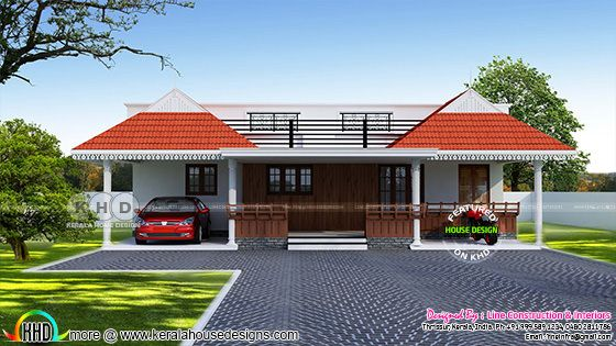 2 BHK 1100 square feet Kerala style single floor home