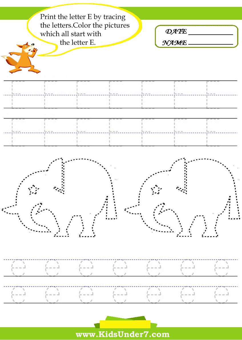 - Kids Under 7: Alphabet Worksheets.Trace And Print Letter E