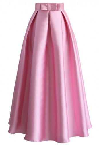 Pink_Bowknot_PLeated_Maxiskirt_Chicwish