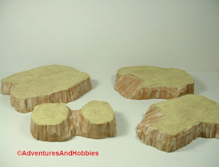 Desert terrain pieces for miniature war games - group 1.