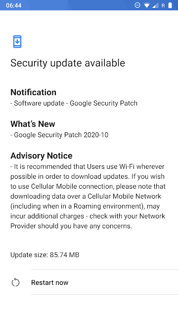 Nokia 8 receiving October 2020 Android Security patch