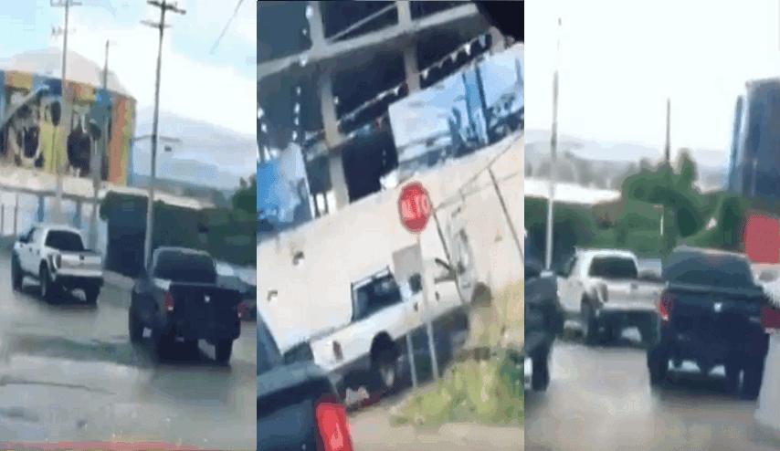 """A plena luz así viaja """"El Comando de la Muerte"""" de """"El Mayo"""" Zambada circulando en convoy de trocas por calles de Durango"""