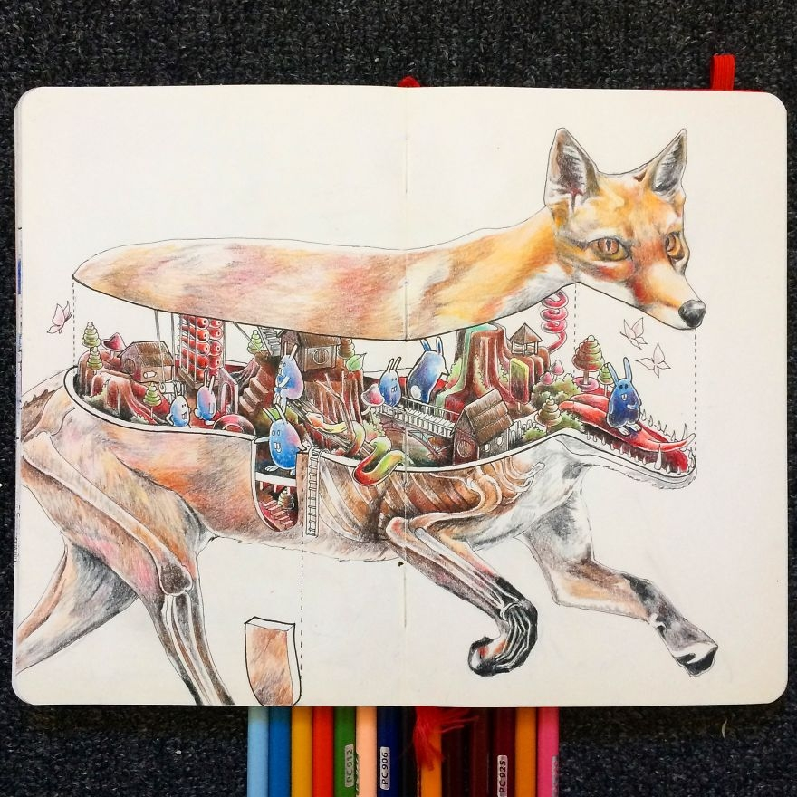 12-Fox-Is-A-Bunny-Haven-Wan-Izat-Architecture-meets-Surrealism-and-Animals-in-Sketch-drawings-www-designstack-co