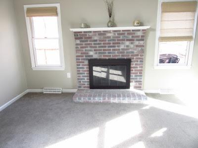 brick  fireplace after whitewash.