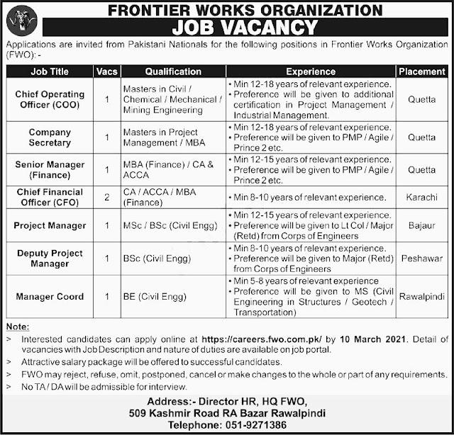 FWO Rawalpindi Jobs 2021 for Company Jobs in Pakistan 24/02/2021 Latest