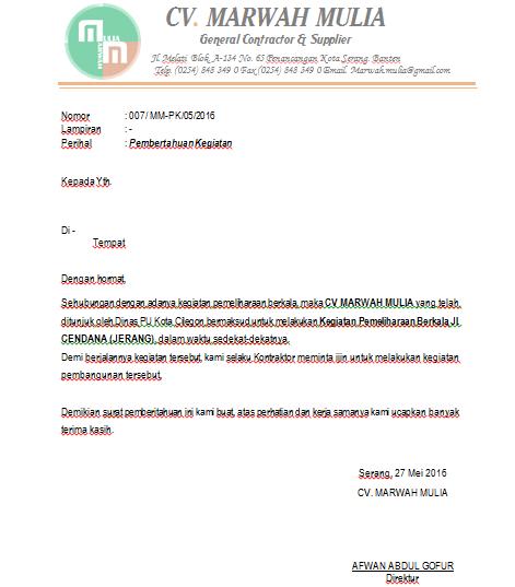 Contoh Surat Pemberitahun Kegiatan Pembangunan Rahasia