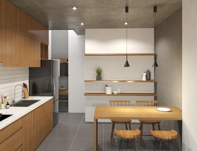 Nội thất nhà phố tối giản- phòng bếp ăn