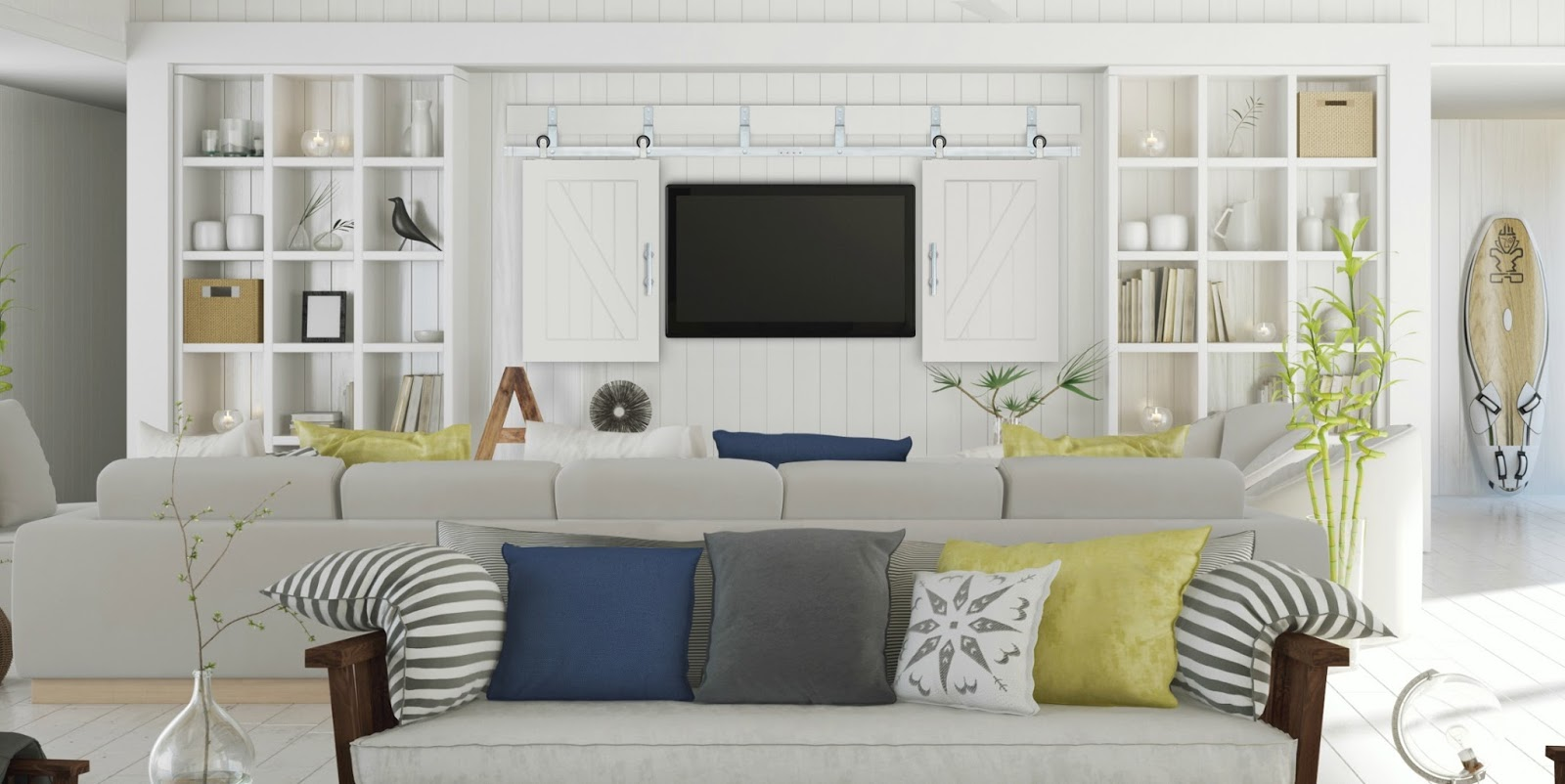 image result for Pacific Entries sliding TV barn doors in white family room