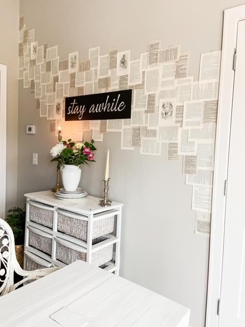DIY book page wall decor
