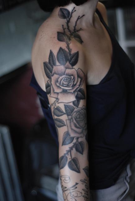 Rose Sleeve Tattoos
