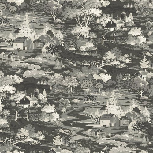 Magnolia Home Wallpaper-York Wallcoverings-Farm Scene-Vinatge-Retro-Wallpaper